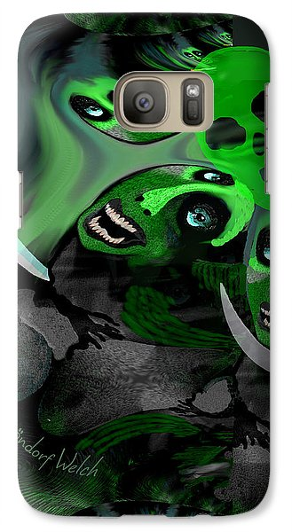 Galaxy Case featuring the digital art  1982 Violence And Fear 2017 by Irmgard Schoendorf Welch