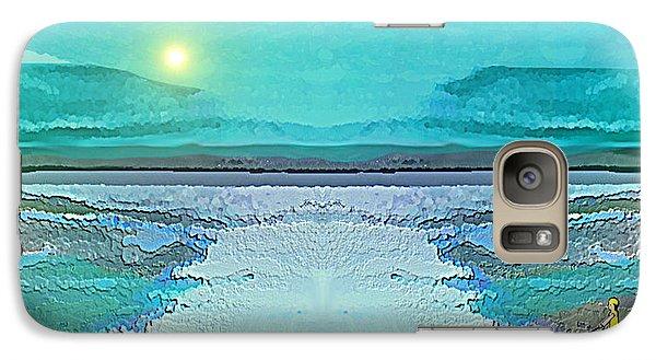 Galaxy Case featuring the digital art 1983 - Blue Waterland -  2017 by Irmgard Schoendorf Welch