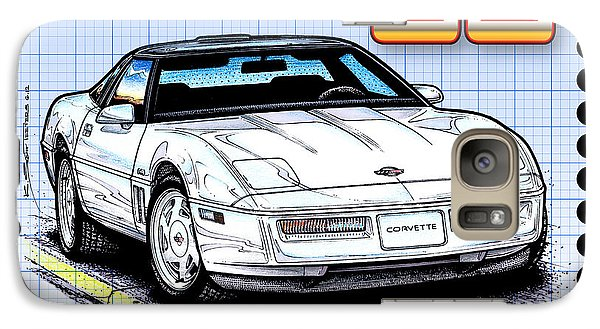 Galaxy Case featuring the drawing 1988 35th Anniversary Special Edtion Corvette by K Scott Teeters