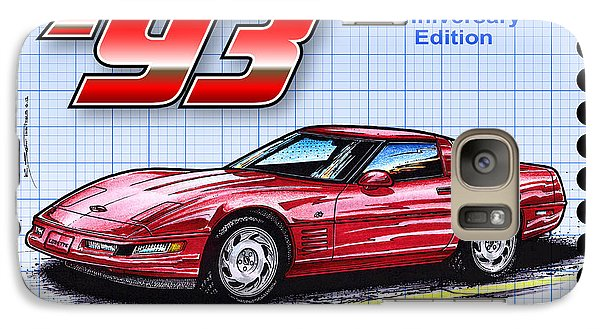 Galaxy Case featuring the drawing 1993 40th Anniversary Edition Corvette by K Scott Teeters