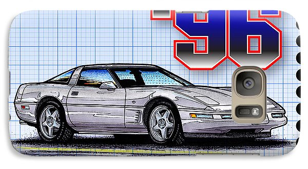 Galaxy Case featuring the drawing 1996 Collector Edition Corvette by K Scott Teeters