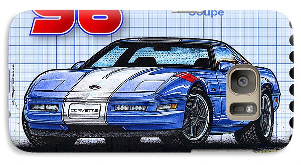 Galaxy Case featuring the drawing 1996 Grand Sport Corvette by K Scott Teeters