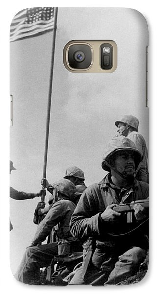 1st Flag Raising On Iwo Jima  Galaxy S7 Case by War Is Hell Store