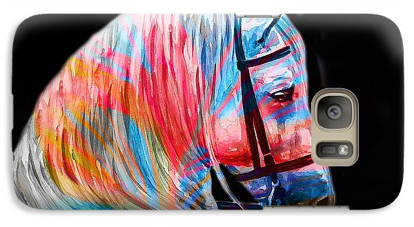 Galaxy Case featuring the painting Abstract White Horse 19 by J- J- Espinoza