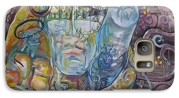 Galaxy Case featuring the painting 2 Angels Hugging Environmental Warrior Goddess by Carol Rashawnna Williams