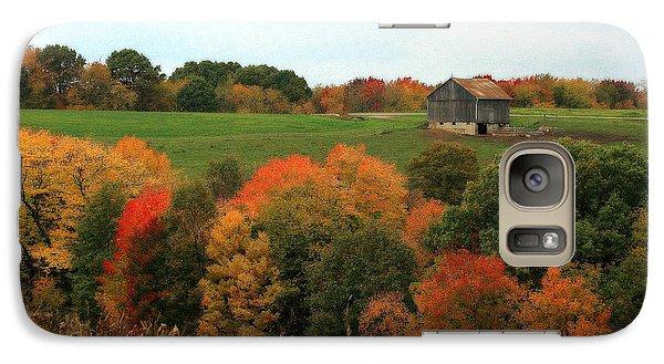 Galaxy Case featuring the photograph Barn On Autumn Hillside by Angela Rath