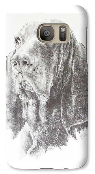 Galaxy Case featuring the drawing Black And Tan Coonhound by Barbara Keith