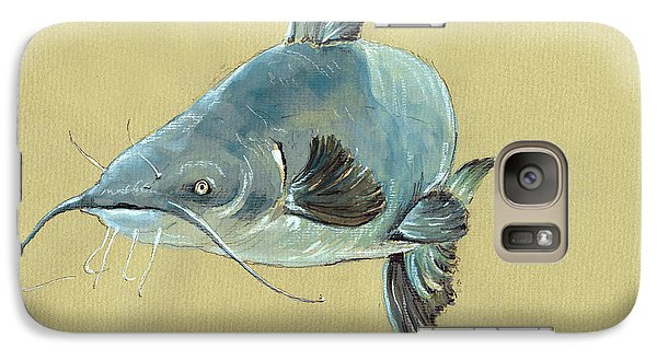 Channel Catfish Fish Animal Watercolor Painting Galaxy S7 Case by Juan  Bosco