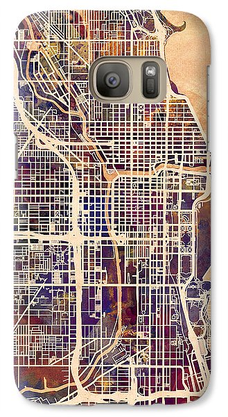 Sears Tower Galaxy S7 Case - Chicago City Street Map by Michael Tompsett