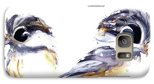 Galaxy Case featuring the painting 2 Chickadees by Dawn Derman