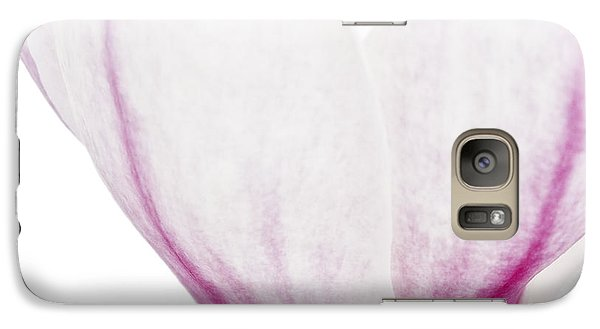 Galaxy Case featuring the photograph Abstract White Red Pink Flowers Macro Photography Art Work by Artecco Fine Art Photography