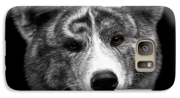 Closeup Portrait Of Akita Inu Dog On Isolated Black Background Galaxy S7 Case