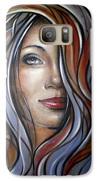 Galaxy Case featuring the painting Cool Blue Smile 070709 by Selena Boron