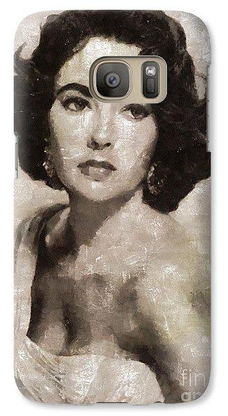 Elizabeth Taylor, Vintage Hollywood Legend By Mary Bassett Galaxy S7 Case by Mary Bassett