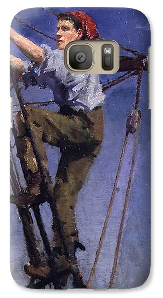 Galaxy Case featuring the painting Going Aloft by Henry Scott Tuke