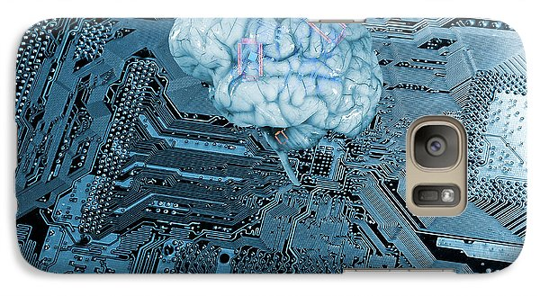 Galaxy Case featuring the photograph Human Brain And Communication by Christian Lagereek