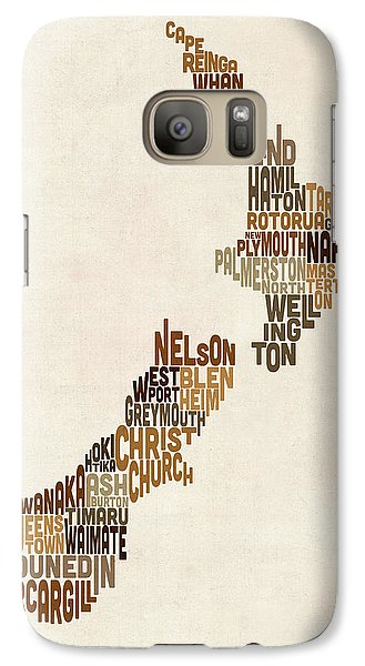 New Zealand Typography Text Map Galaxy S7 Case