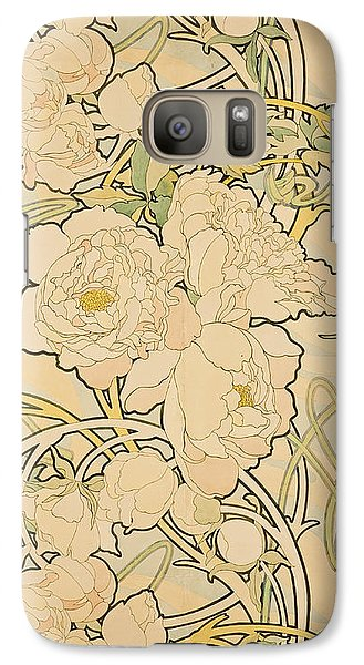 Peonies Galaxy S7 Case by Alphonse Mucha