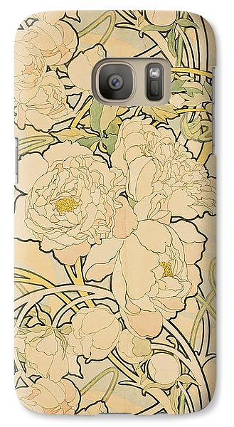 Flowers Galaxy S7 Case - Peonies by Alphonse Mucha