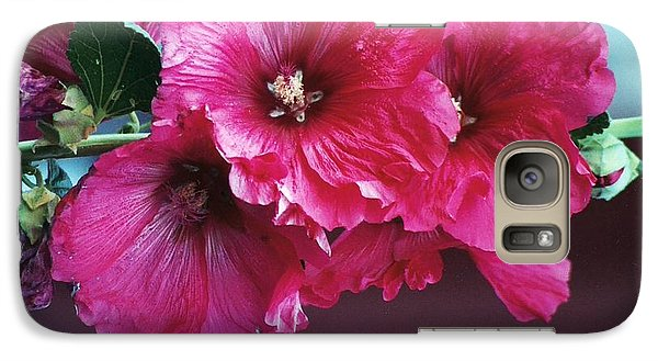 Galaxy Case featuring the photograph P's Hollyhocks by Juls Adams