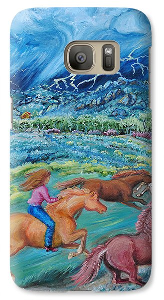Galaxy Case featuring the painting Racing The Lightning Home by Dawn Senior-Trask