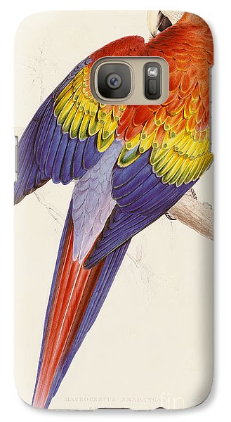 Red And Yellow Macaw Galaxy S7 Case by Edward Lear