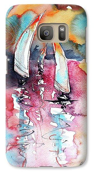 Galaxy Case featuring the painting Sailboats by Kovacs Anna Brigitta
