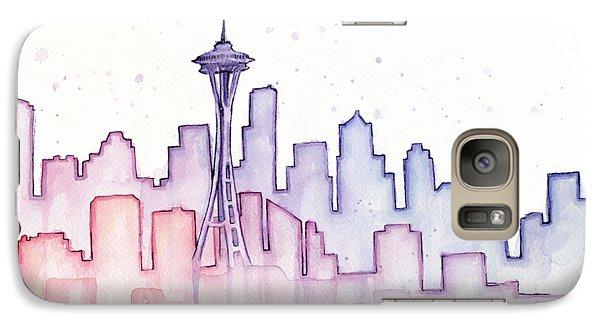 Seattle Skyline Watercolor Galaxy Case by Olga Shvartsur
