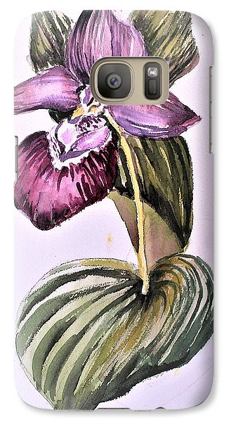 Galaxy Case featuring the painting Slipper Foot Orchid by Mindy Newman