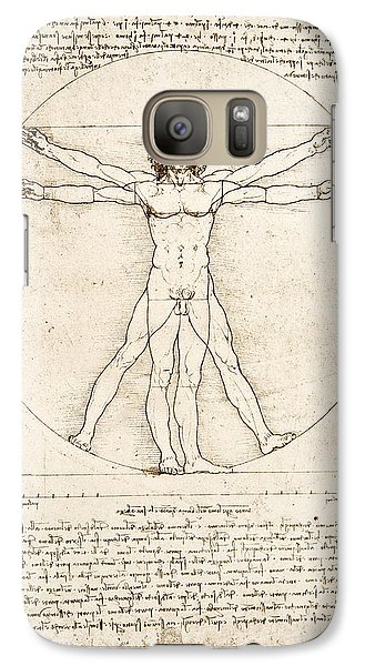 The Proportions Of The Human Figure Galaxy S7 Case by Leonardo Da Vinci