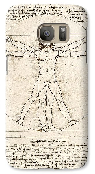 The Proportions Of The Human Figure Galaxy S7 Case by Leonardo Da Vinci