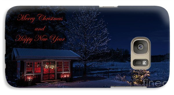Galaxy Case featuring the photograph Winter Night Greetings In English by Torbjorn Swenelius