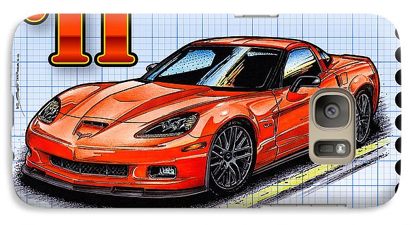 Galaxy Case featuring the drawing 2011 Z06 Carbon Edition Corvette by K Scott Teeters