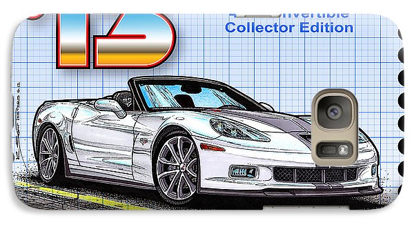 Galaxy Case featuring the drawing 2013 60th Anniversary 427 Convertible Corvette by K Scott Teeters