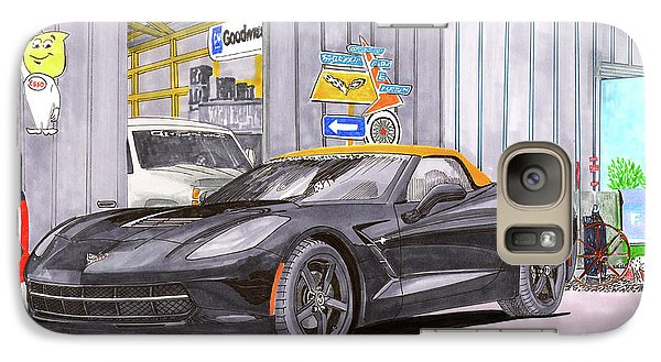 Galaxy Case featuring the painting 2014 Corvette And Man Cave Garage by Jack Pumphrey