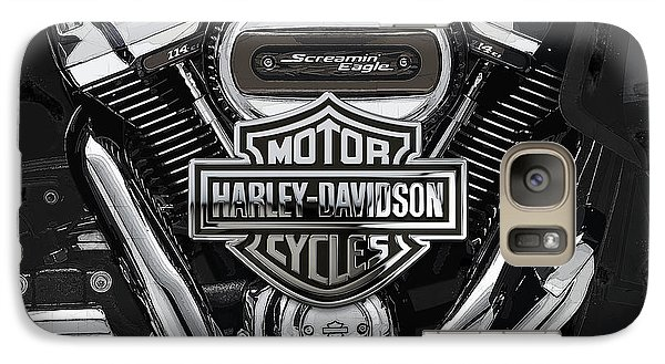 Galaxy Case featuring the digital art 2017 Harley-davidson Screamin' Eagle Milwaukee-eight 114 Engine With 3d Badge by Serge Averbukh