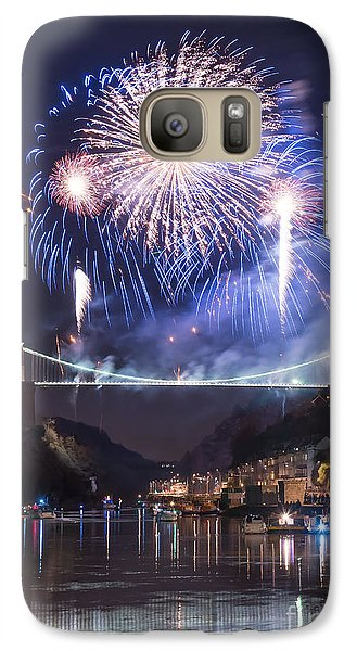 Galaxy Case featuring the photograph Clifton Suspension Bridge Fireworks by Colin Rayner
