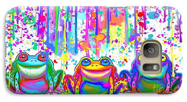 Galaxy Case featuring the painting 3 Colorful Painted Frogs by Nick Gustafson