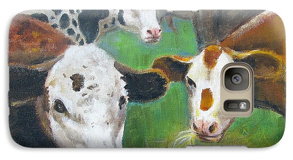 Galaxy Case featuring the painting 3 Cows by Oz Freedgood
