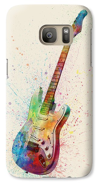 Electric Guitar Abstract Watercolor Galaxy S7 Case by Michael Tompsett