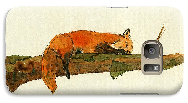 Fox Sleeping Painting Galaxy S7 Case by Juan  Bosco