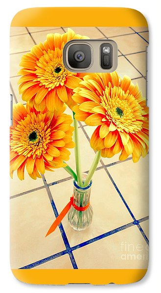 Galaxy Case featuring the photograph 3 Golden Yellow Daisies Gift To My Beautiful Wife Suffering With No Hair Suffering Frombreast Cancer by Richard W Linford