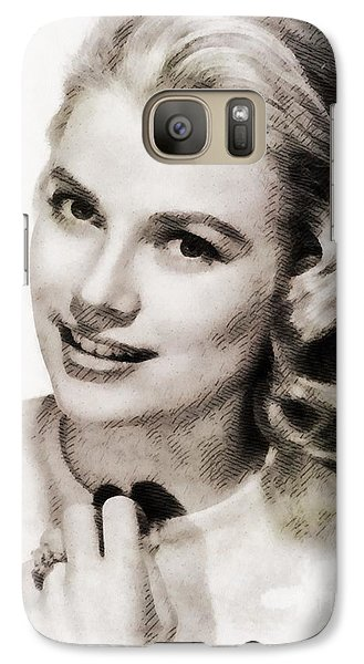 Grace Kelly, Vintage Hollywood Actress Galaxy S7 Case by John Springfield