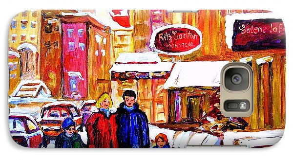 Galaxy Case featuring the painting Montreal Street In Winter by Carole Spandau