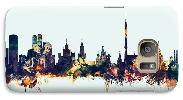 Moscow Russia Skyline Galaxy Case by Michael Tompsett