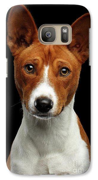 Pedigree White With Red Basenji Dog On Isolated Black Background Galaxy S7 Case by Sergey Taran