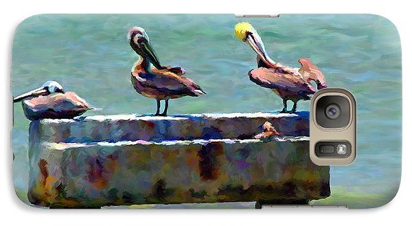 Galaxy Case featuring the painting 3 Pelicans by David  Van Hulst