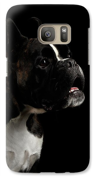 Purebred Boxer Dog Isolated On Black Background Galaxy S7 Case