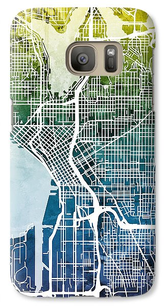 Seattle Washington Street Map Galaxy Case by Michael Tompsett