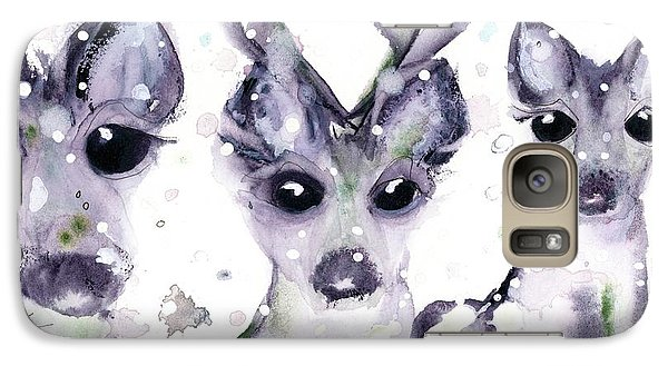 Galaxy Case featuring the painting 3 Snowy Deer by Dawn Derman